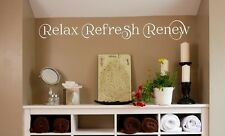Relax Refresh Renew vinyl wall decal saying bathroom home quote word lettering