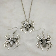 NEW 1 set of Vintage silver Spider Pendant Necklace & earrings Fashion Jewelry