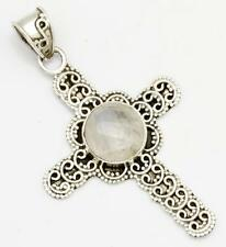 Rainbow Moonstone Cross Pendant Solid 925 Sterling Silver Jewelry IP25201