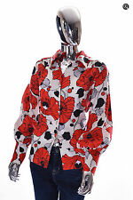 Beautiful Womens Vintage Unbranded Red & Off-White LS Big Poppy Blouse Shirt