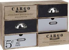 CARGO Mini Kommode 6 Schubladen Shabby Chic Aufbewahrungsschrank Schränkchen