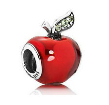 SNOW WHITE RED APPLE 925 Sterling Silver Solid European Charm Bead for Bracelet