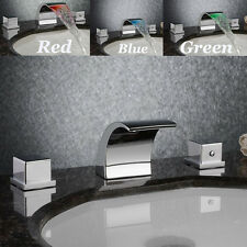 Waterfall LED Faucet Chrome Bathroom Basin Sink Mixer Tap Contemporary 2-Handles