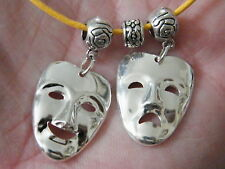 "Comedy Tragedy Masks Necklace Broadway Drama Theater Faces 17"" - 19"" Yellow NEW"