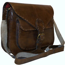 SALE - Handmade Real Leather Brown Vintage Retro Messenger Saddle Cross Body Bag