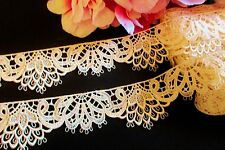 Amazing Beige/ cream Vintage embroidery  lace trim - selling by the yard