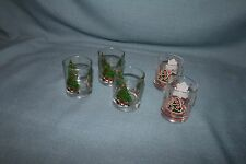 "2"" Christmas Tree Glasses Set of 5 for Shots? Adorable 2 patterns"