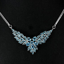ALLURING GENUINE SWISS & SKY BLUE TOPAZ STERLING 925 SILVER NECKLACE 18 INCH.