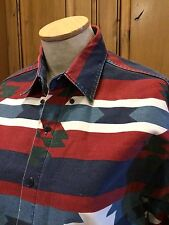 New River for J Riggings South West Print Button Up Mens Shirt Size Large USA