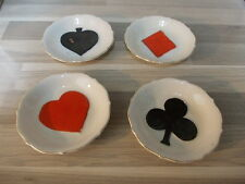 4 X little porcelain ashtray playing cards signs