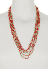 LUCKY BRAND Red Gold-Tone Metal Beaded Knotted Long Necklace $49