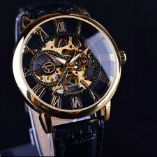Fashion Mens Steampunk Skeleton Stainless Steel Automatic Mechanical Wrist Watch