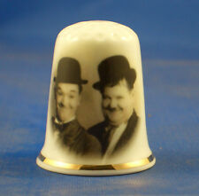 Birchcroft  Thimble -- Film Stars -- Laurel and Hardy  --  Free Dome Gift Box