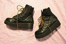 YRU Gothic Lolita Industrial Quilted Platform  Boots 6