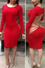 Sexy Red Open Back Cutout Stretch Body Con Cocktail Evening Party Dress 14