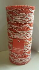 Red Burlap Ribbon with White Lace 5.5 inches x 8 feet New