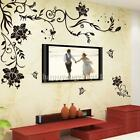 Butterflies Vine Flowers Wall Stickers Art Wallpaper Decal Home Decor Removable