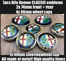 7xSET Alfa Romeo CLASSIC Emblem Kuhlergrill(VORNE HINTEN RADKAPPE LENKRADKAPPE)