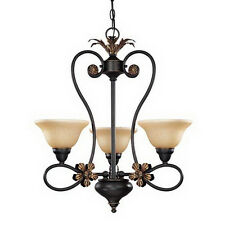 Rustic Bronze 3 Light Chandelier With Tangerine Peel Glass