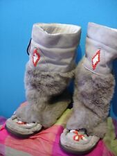 grey fur Kurt Geiger mukluk beaded snow winter fleece boots ski native american