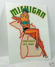 Michigan Pinup Vintage Style Travel Decal, Vinyl Sticker, Luggage Label