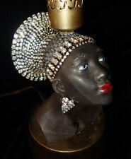 Vintage Jeweled Art Deco crystal waterfall African Queen lady Lamp Spelter Brass
