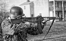 WWII B&W Photo German Soldier with StG 44  Sturmgewehr 44 WW2 / 2159