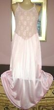 "VTG SIZE L PINK SILKY SMOOTH VERY SOFT NYLON 82"" SWEEP NIGHTGOWN BUST TO 44"""