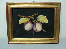 "BEAUTIFUL ITALIAN PAINTING ON MARBLE PLAQUE ""PLUMS"", SIGNED ""G. CAVATORTA"""