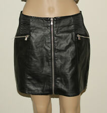 Black Look Leather PULL & BEAR Zip Pencil Stretch Clubwear Casual Skirt Size L