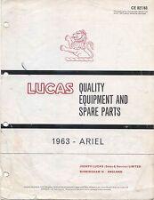 Ariel 1963 Lucas Spare Parts List for Ariel Motorcycles No. CE/827/63