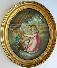 Antique 18th C. ENGLISH NEEDLEWORK EMBROIDERY Panel  Woman w/ Harp  c. 1780