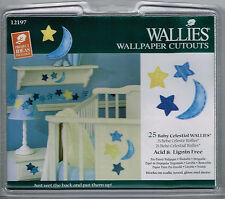 Wallies Baby Celestial Wall Stickers 25 Blue Yellow Moon Stars Nursery Scrapbook