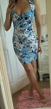Bnwt sexy size 10 floral mini short dress blue summer wedding sweetheart neck
