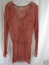 SAUVAGE 100% Silk Red Patterned Sheer Top Swimsuit long sleeve Cover size S   b4