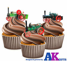 Vintage Traction Steam Engines Mens Boys 12 Cup Cake Toppers Edible Decorations