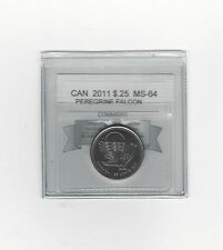 **2011 Peregrine Falcon**Coin Mart Graded Canadian, 25 Cent,**MS-64**