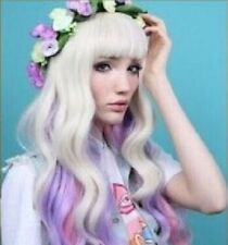 Beautiful long Milky white with pink and purple women long  Cosplay Wig +hairnet