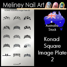 Konad Square Image Plate 2 for Stamping Nail Art Transfer Stencils French Tips