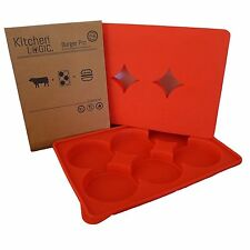 Burger Pro Press and Store - BPA Free Silicone - 6 in 1 Third Pound