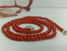 Natural italian red  coral necklace 3mm beads and silver clasp authentic coral