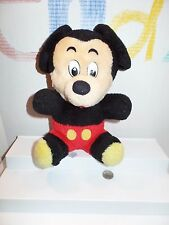 """Disney 10"""" Mickey Mouse Plush Vintage Style Stuffed Toy Red Shorts Sitting"""
