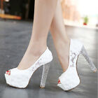 Gorgeous Princess Lace High Heels Party Queen With Glitter Platform Wedding Shoe