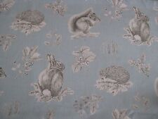 "SANDERSON CURTAIN FABRIC DESIGN ""Squirrel & Hedgehog"" 2.8 METRES SKY BLUE/PEBBLE"