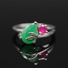 Fashion Drop Natural Emerald Ruby Ring Platinum Plated Zircon Charm Ring Size 8