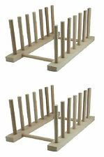 2 x Beechwood Dish Drainer Wooden Dish Draining Stand Plate Holder Storage Rack