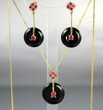 Art Deco Style 9Ct Gold Topaz , Onyx Suite Of Earrings And Pendant On Fine Chain
