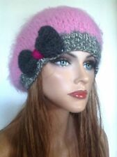 Hand Knit Beret Benie Slouch Tam Pink Mohair Style Gray White Hip Designe Fahion