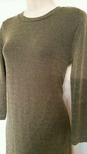 Ladies MINK PINK gold fitted mini dress size S party slinky Christmas sparkle