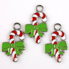 20pcs 145551 Plated Rhodium Enamel Bowknot Crutch Charms Alloy Pendant For XMAS